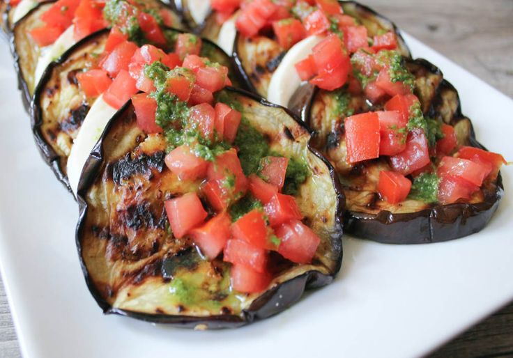 Grilled Eggplant with Fresh Mozzarella, Tomatoes and Basil Vinaigrette (and other Memorial Day Grilling Recipes)!