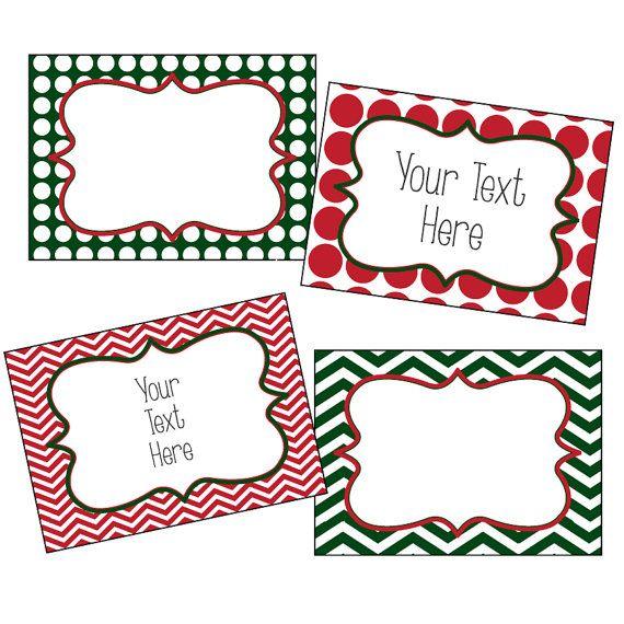 Christmas Labels, Editable Christmas Labels, Chevron and Polkadots, Red and Green, Editable PDF, Printable gift tags, editable gift tags