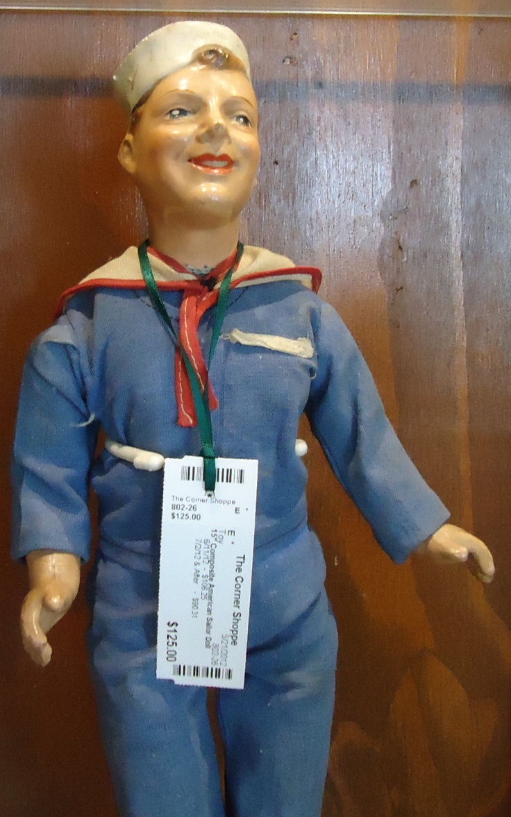 WWII composition sailor doll.  Check them out at The Corner Shoppe, 27 Calendar Ave, LaGrange, IL 708-579-2425