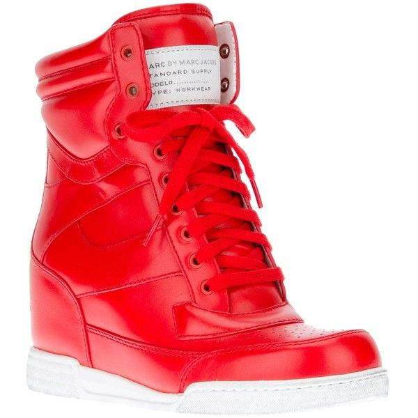 MARC BY MARC JACOBS wedge trainer ($190) ❤ liked on Polyvore featuring shoes, sneakers, heels, wedges, red leather shoes, red heel shoes, red trainers, red sneakers and lace up sneakers
