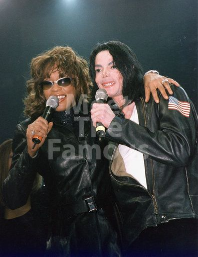 """Michael Jackson Joins Whitney Houston On Stage At Madison Square Garden For """"Miracle On 34th Street"""" at Madison Square Garden, 12/30/2000."""