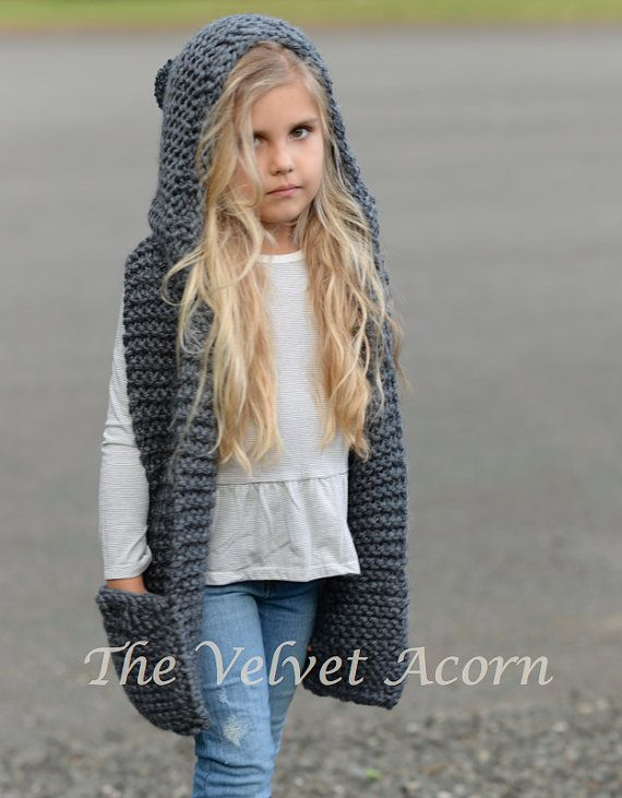 Knitting PATTERN-The Tuft Hooded Scarf 12/18 months Toddler
