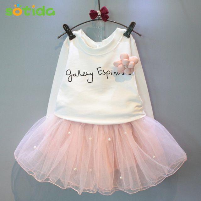 Vestidos de meninas 2017New linda meninas tee camisa branca e rosa vestido com strass roupas definir crianças outono set roupas crianças