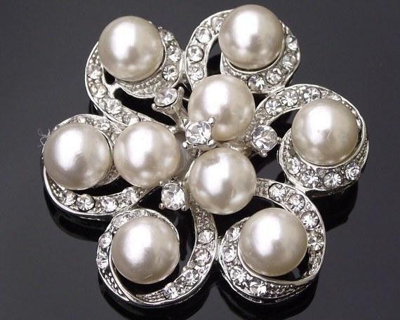 Wedding Brooches - Nine Ivory Pearls & Crystal Brooch Or Hair Clip, Naomi