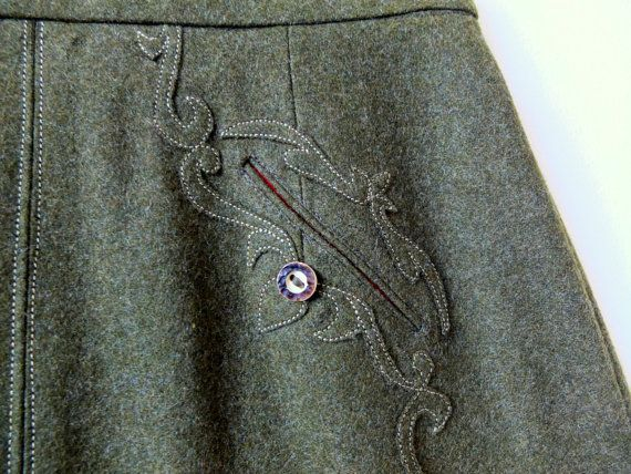 Olive green winter skirt / tailored embroidered by ParisRomaNYflea