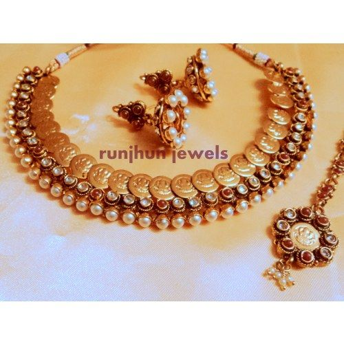 goddess laxmi  pearl and ginni necklace set