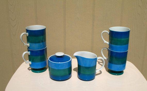 Vintage 60s Holt Howard Mugs / Sugar and Creamer / Blue and Green Mugs / Set of 6 / Color Block Kitchen Set