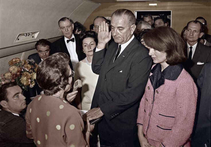 Lyndon Baines Johnson taking the oath of office shortly after U.S. President John F. Kennedy was assassinated.