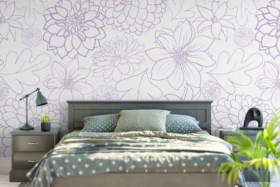 Big Purple Floral Dahlia Removable Wallpaper Removable Etsy Removable Wallpaper Peel And Stick Wallpaper Prepasted Wallpaper