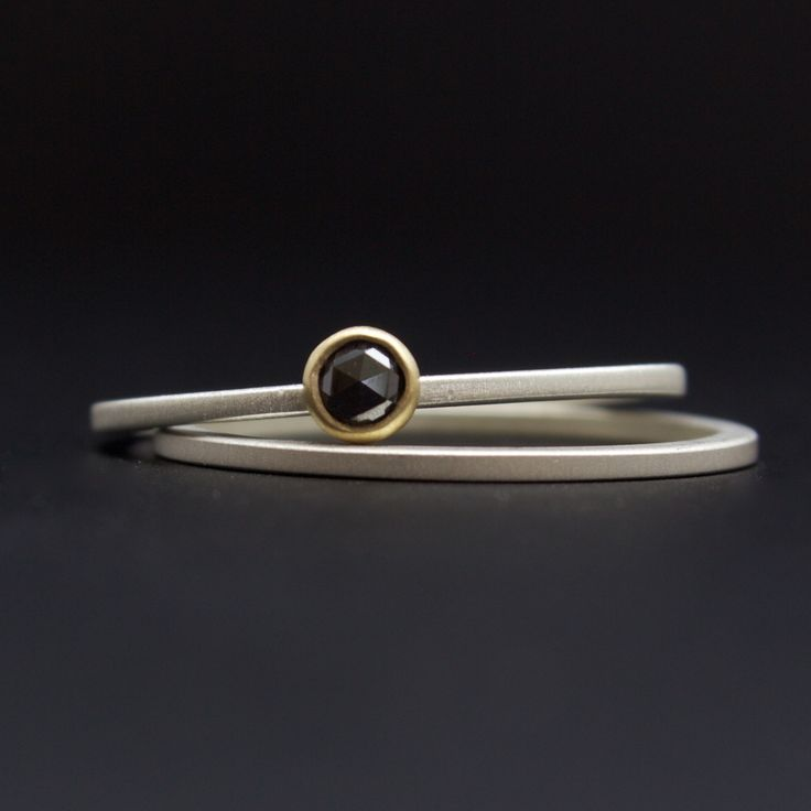 Rose Cut Diamond Ring Set Black Engagement Bezel In 18 Karat Yellow Gold Of Sterling Stack Rings With