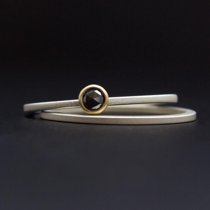 rose cut black diamond ring set