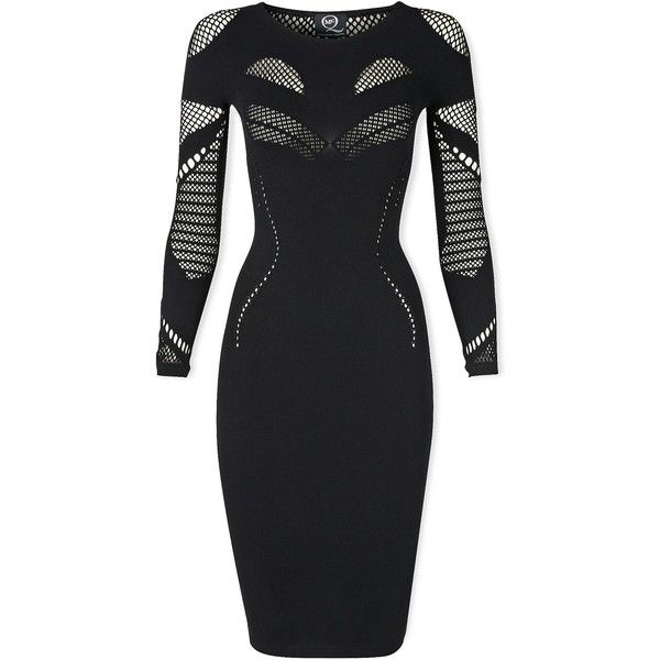 Mcq Alexander Mcqueen Long Sleeve Mesh Dress ($275) ❤ liked on Polyvore featuring dresses, short dresses, black, black mesh dress, little black dress, cut out dress, black cutout dress and cutout dress