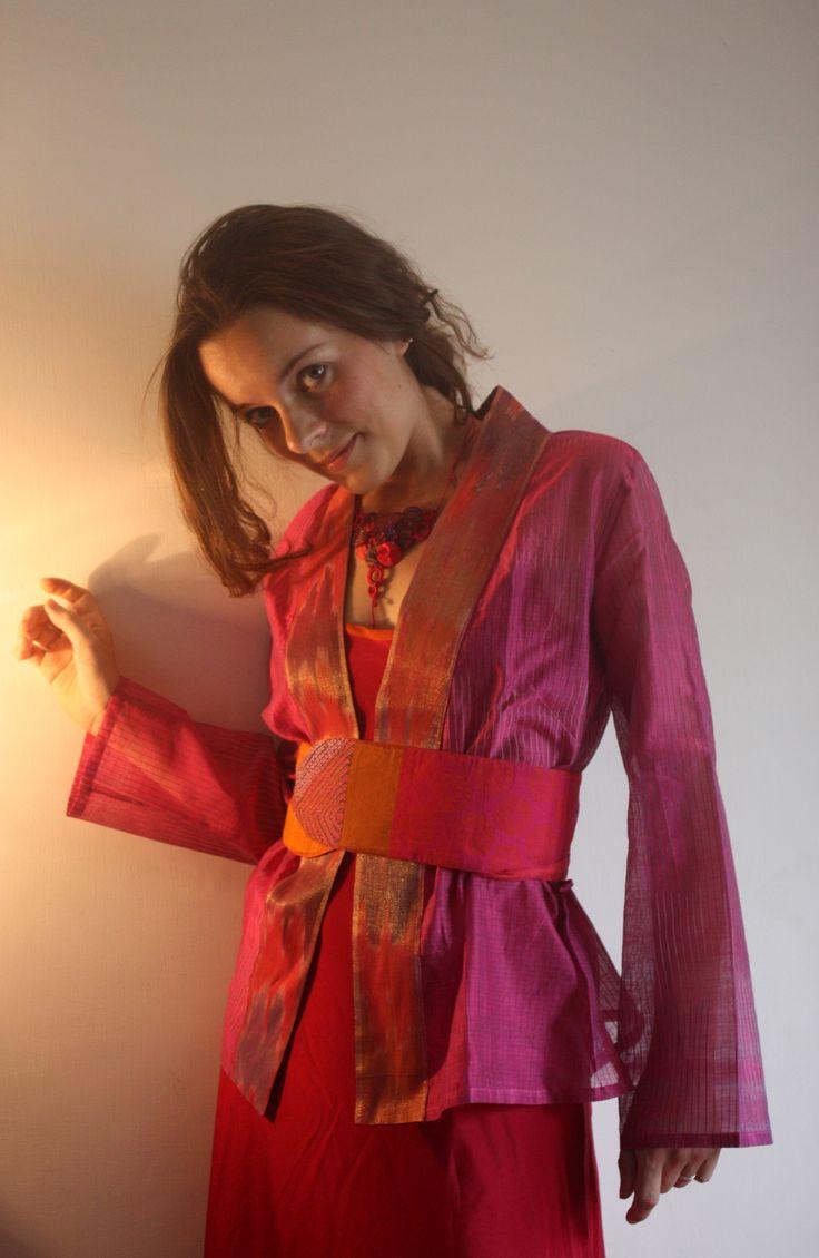 Anita jacket, hand woven cotton. Tm Belt.