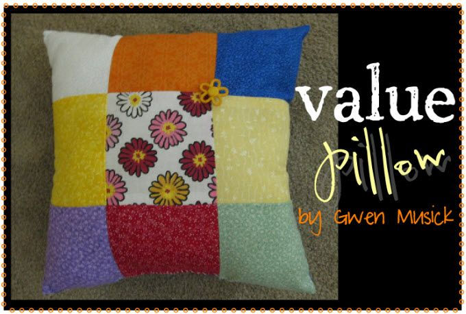 young women project: value pillow.  what a great way to teach them how to sew in a line. :)
