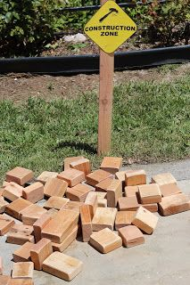 construction party activities: building blocks THIS would be EASY!!! Use daddy's scraps from the wood shop!!