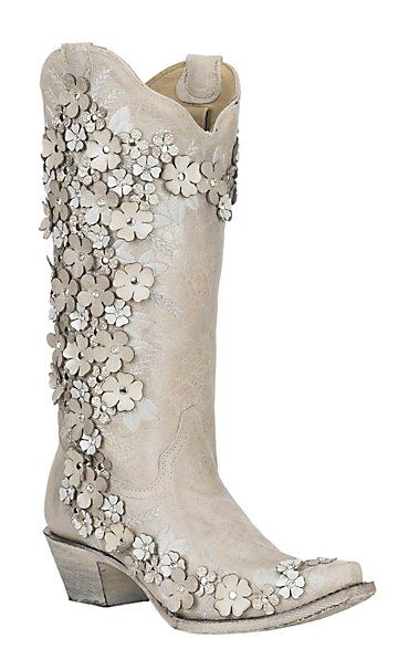 Corral Women's White Floral Overlay with Embroidery, Studs and Crystals Cavender's Exclusive Western Snip Toe Boots