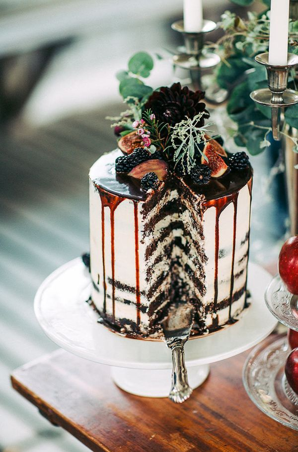 Semi Naked Chocolate Wedding Cake with Drizzle