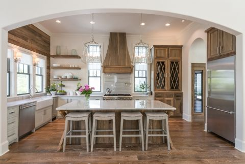 What a house tour! Love this kitchen with the perfect mix of white, rustic wood Old Seagrove Home eclecticallyvintage.com