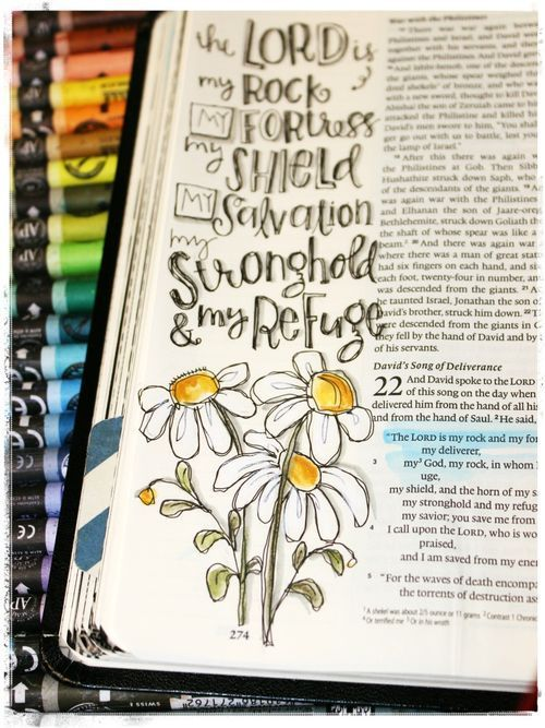 The Lord is my rock, and my fortress, and my deliverer | 2 Samuel 22:2 | Stephanie Ackerman | #biblejournaling #illustratedfaith: