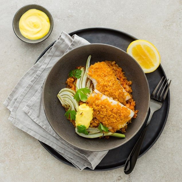 My Food Bag - Nadia Lim - Recipes - Paprika-Crusted Fish with Bomba Rice and Saffron Aioli