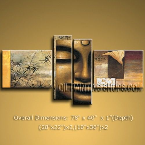 BUDDHA FENG SHUI LARGE MODERN ABSTRACT OIL PAINTING ZEN WALL ART WORTHlESS DECOR 78 x 40 by Bo Yi Studio #1086 | Modern_ US $168.00