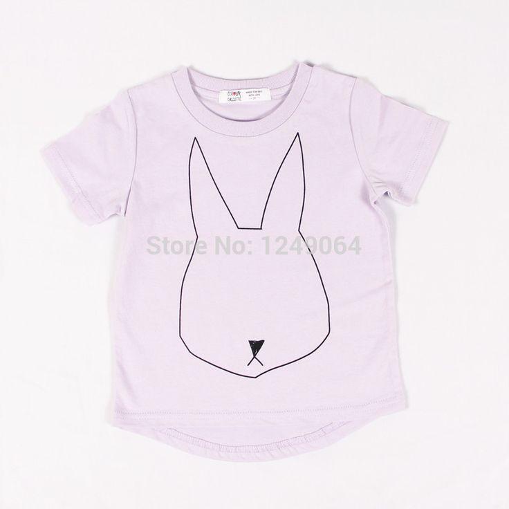 2015 New Summer Children Clothes 100%Cotton Jersey allover Rabbit print Short Sleeves