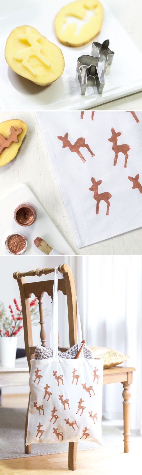 DIY Bambi bag with potato print, fast gifts homemade – Still Designs for Women