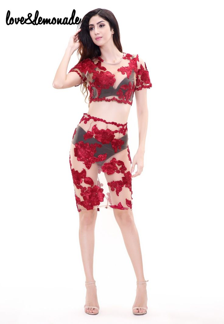 Amor & Limonada Vermelho Flores de Renda Transparente Two Pieces Vestido de Festa TB 8818 em Vestidos de Das mulheres Roupas & Acessórios no AliExpress.com | Alibaba Group