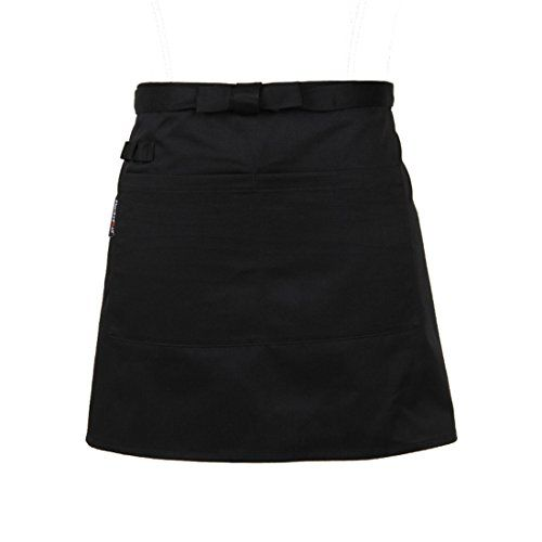 Korean cute black cotton adjustable half waist cooking apron with pocket for men and women girls waiter waitress kitchen restaurant -- AMAZON Great Sale