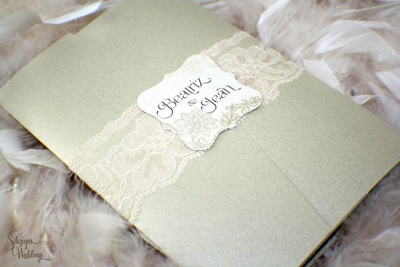 Beautiful Lace Wedding Invitations by SDezigns