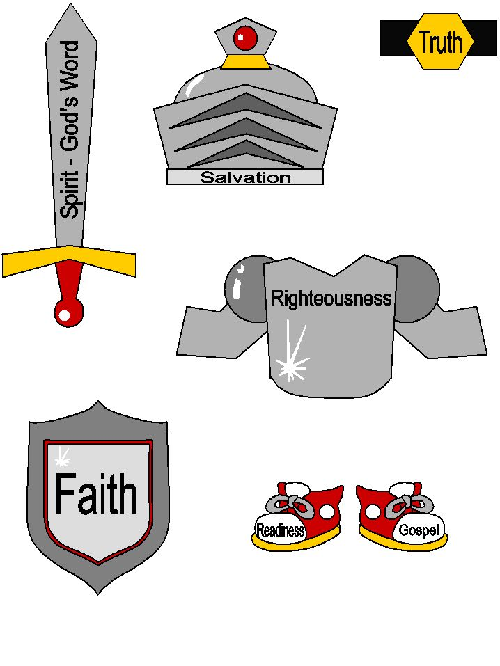 The armor for put on the armor of God template. What a great activity for the kids!