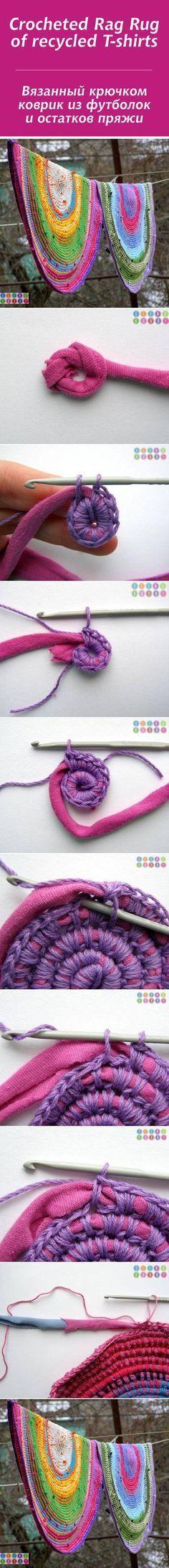 Вязанный крючком коврик из футболок  и остатков пряжи / Crocheted Rag Rug  of recycled T-shirts #crochet #homedecor #diy #recycle