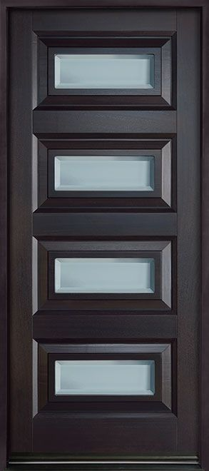Contemporary Series Mahogany Solid Wood Front Entry Door - Single