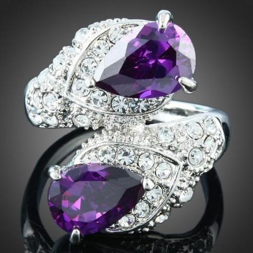 18K WGP Dual Teardrop Purple Rhinestone Crystal Ring