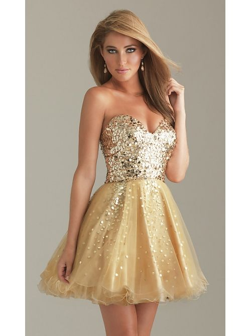 Short Gold Sleeveless Sweetheart Tulle Sequined Prom Dress PD-7001
