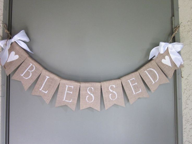 Christening Banner - Baptism Banner - Blessed Burlap Banner - Baby Christening Bunting - Rustic Chic Burlap Baptism Garland - Photo Prop by QuaintConfections on Etsy
