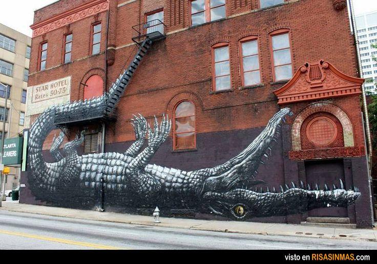 Street Art: Cocodrilo con la escalera.