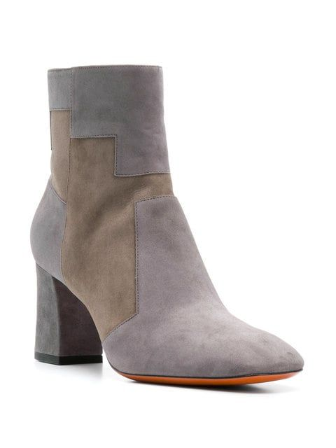 a0f69c2bac52 ShopStyle Collective Grey suede two tone ankle boots from Santoni featuring  a high ankle