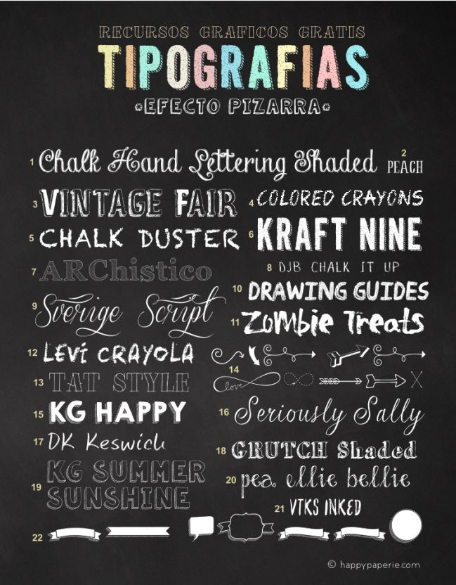 Happy Paperie®: 22 Tipografías efecto pizarra Gratis ( Uso Personal ) Happy Paperie®: 22 Free Chalkboard Fonts (Personal Use only)