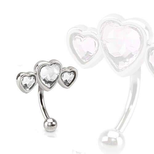 Triple Heart Clear Cubic Zircons - Pierce of Mind