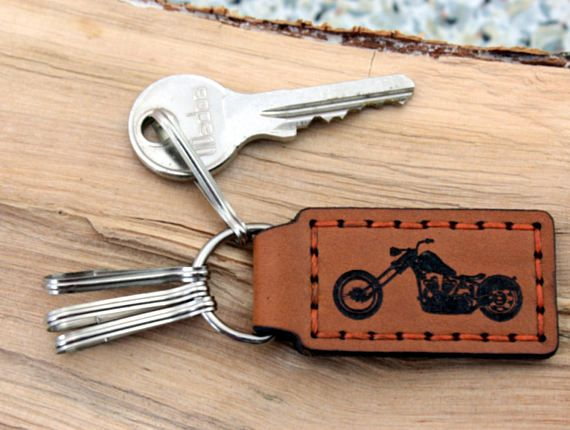 Key Fob Chopper Keychain Motorcycle  Personalized Monogram Keyring Natural Leather carabiner Gift for Him Boyfriend Father Grandfather