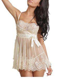Femmes Sexy Lingerie Dentelle Arc Babydoll Avec G-String jeune mariée transparentes sexy Nuisette- Grande Taille (XL)