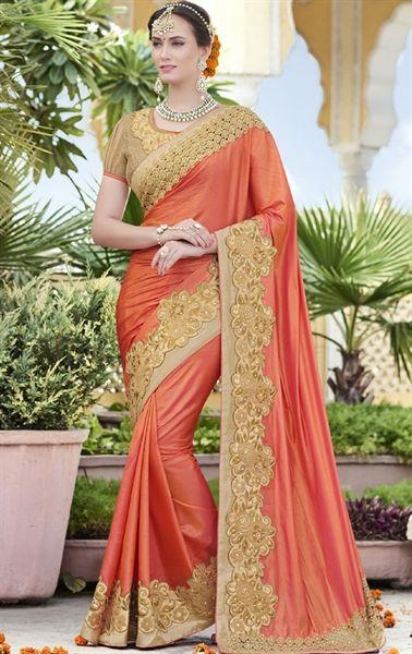 Picture of Flamboyant Orange Designer Wedding Saree