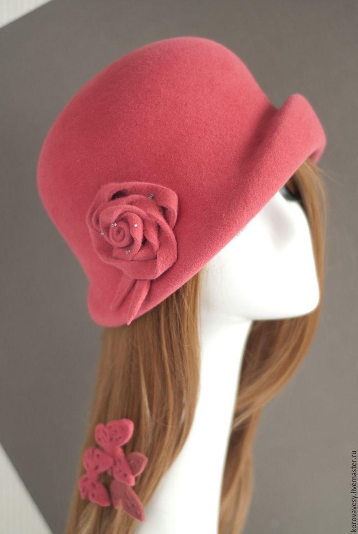 """Купить SALE! """"Коралловый клош"""" - коралловый, розовый, красный, шляпка, клош, элегантность, женская мода"""