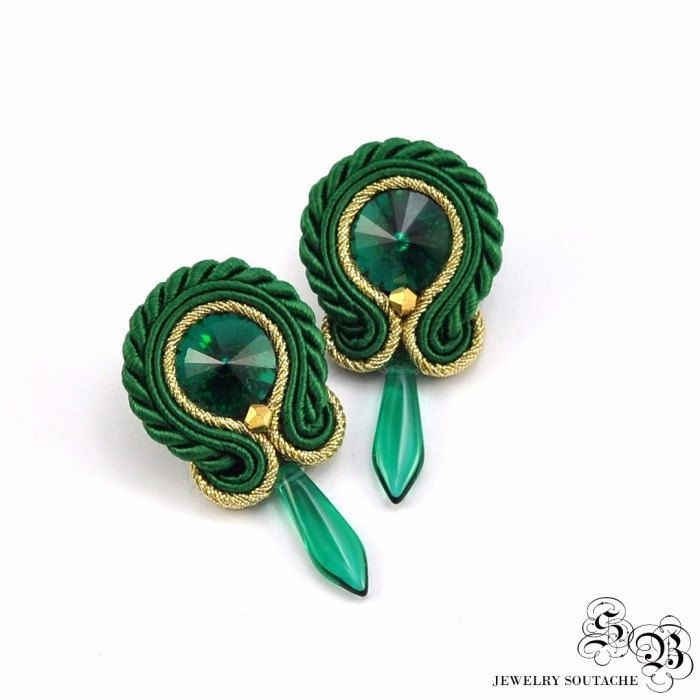 Mini Earrings Soutache, Round Dangle Earrings, Handmade Earrings with crystal, Small earrings soutache, green/gold by SBjewelrySoutache on Etsy