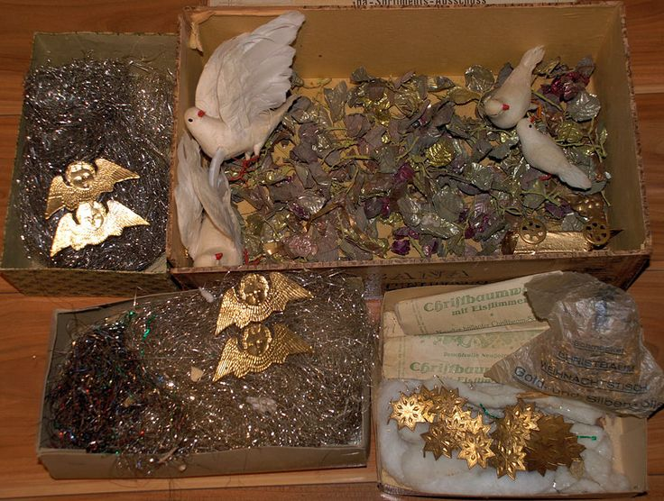 antiker-Weihnachtsbaumschmuck-Watte-Pappe-Metall-um-1900