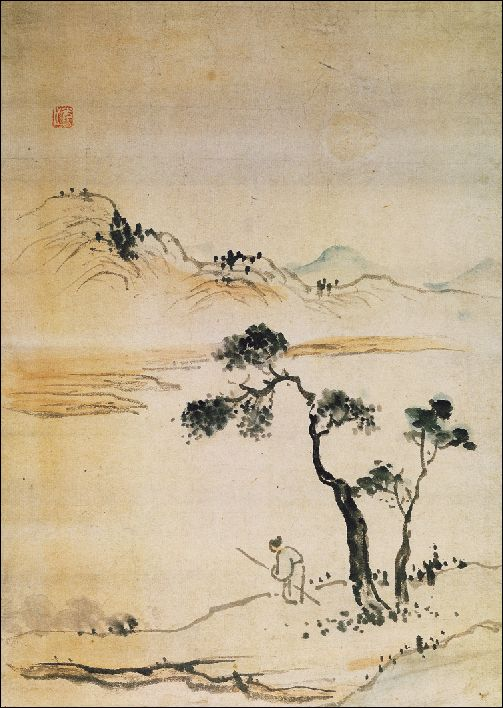 (Korea) Landscapes by Gang Se-hwang (1713-1791). ca 18th century CE. Joseon Kingdom, Korea. color on paper.