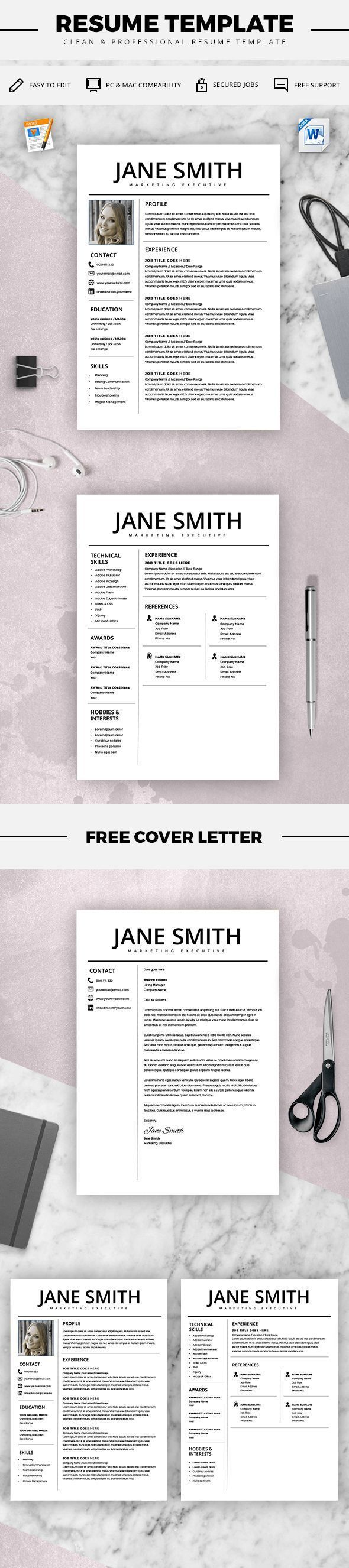 Professional Resume Template - MS Word Compatible - Best CV Template + Cover Letter - Mac / PC - Sample - Instant Download