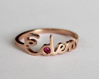 Oro monograma anillo de oro inicial oro carta de por capucinne