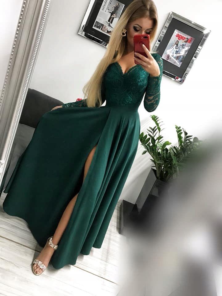 Kira2 Zielona Dluga Sukienka Z Koronkowa Gora M 7638572910 Allegro Pl Wiecej Niz Aukcje Dinner Dress Long Dress Elegant Dresses